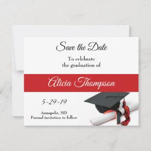 Black and Red Graduation Cap and Tassel Custom Save The Date