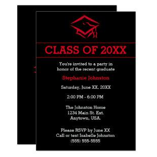 Black and Red Mortarboard Simple Graduation Party Invitation