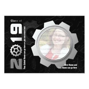 Black and Silver Gear Graduation Invitation 2019