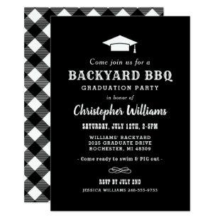 Black and White Backyard BBQ Graduation Party Invitation