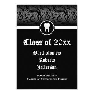 Black and White Dental School Graduation 5x7 Invitation