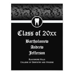 Black and White Dental School Graduation Dentistry Invitation