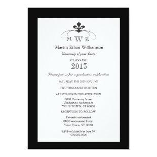 Black and White Fleur de Lis Formal Graduation Invitation