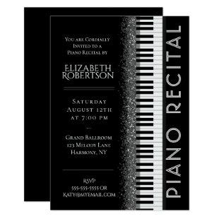 Black and White Piano Recital Invitation
