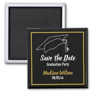 Black and White Save the Date Graduation Party Magnet
