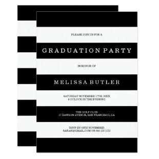 Black and White Stripe Graduation Invitation