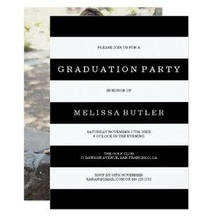 Black and White Stripe Photo Graduation Invitation