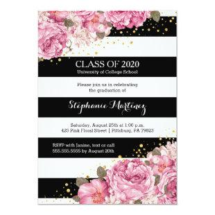 Black and white stripes and pink floral graduation invitation