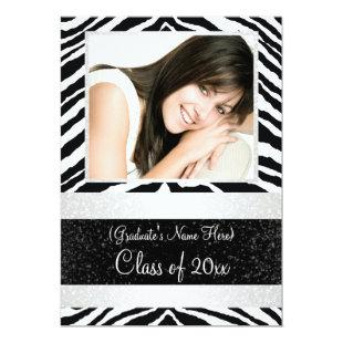 Black and White Zebra Graduation Party Invitation