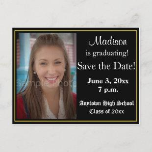 Black and Yellow Graduation Save the Date Card
