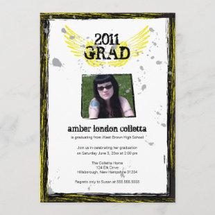 Black and Yellow Wings Grunge Graduation Invitation