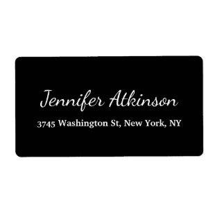 Black Creative Handwriting Plain Simple Label