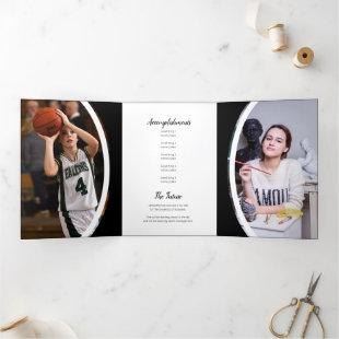 Black Curved Frame Three Photo Graduation Tri-Fold Invitation