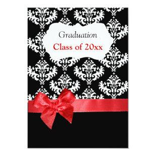 Black Damask & Red Ribbon Graduation Invitation