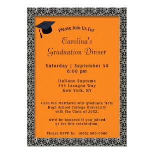 Black Frame Dinner Cap Orange Graduation Invitation