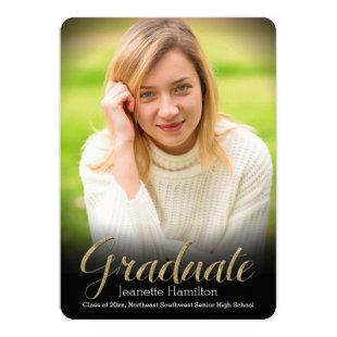 Black Frame Vignette Photo Graduation Announcement