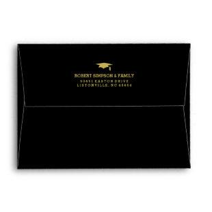 Black & Gold 5x7 Graduation Invite Envelope