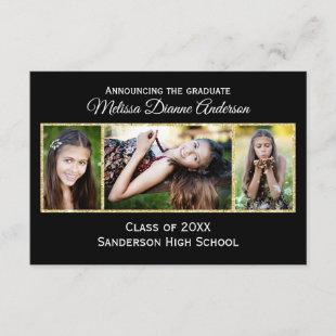 Black/Gold Background-3x5 Graduation Announcement