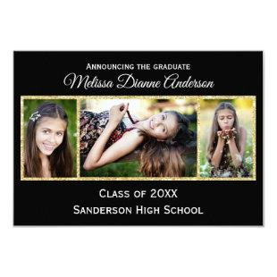 Black/Gold Background - 3x5 Graduation Party Invitation