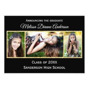Black/Gold Background - Graduation Party Invitation