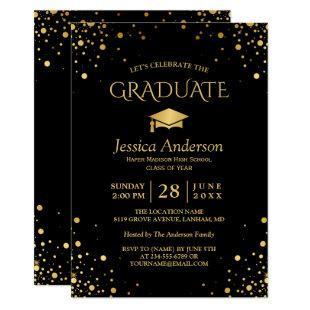 Black Gold Confetti Dots Graduate Graduation Party Invitation