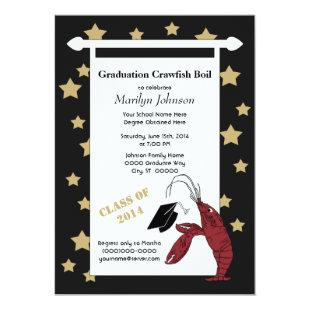 Black Gold Crawfish / Lobster Stars Graduation Invitation