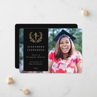 Black + Gold Doctor of Osteopathic Medicine Photo Announcement