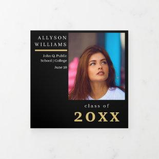 Black | Gold Elegant Classy 8 Photo Graduation Tri-Fold Announcement