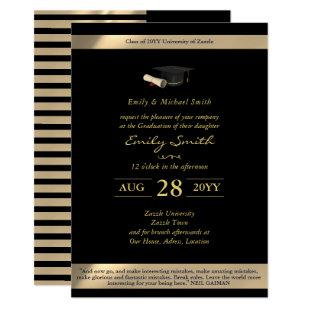 Black Gold Graduation Invitations Formal Elegant