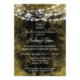 Black Gold Lights Graduation Party Invitation