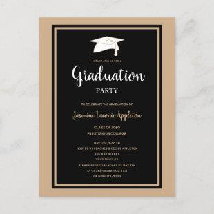 Black Gold Modern Simple Graduation Party Invitation Postcard