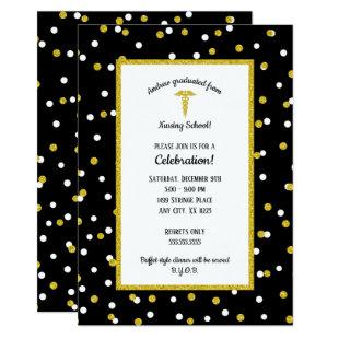 Black Gold Nurse graduation party, neutral gender Invitation