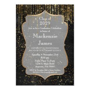 Black Gold Star Bling Graduation Party Invitation