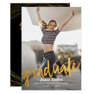 Black & Gold Typography Photo Graduation Party Invitation