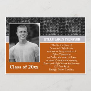 Black, Gray, and Orange Photo Graduation Invite