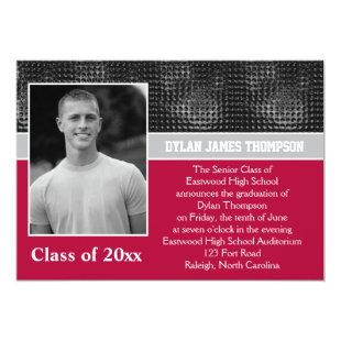 Black, Gray, and Red Photo Graduation Invitation