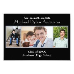 Black/Gray Background - 3x5 Graduation Party Invitation