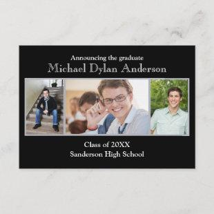 Black/Gray Background - 3x5Graduation Announcement