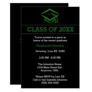 Black Green Mortarboard Simple Graduation Party Invitation