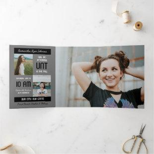 Black Modern Block 5-Photo Graduation Tri-Fold Invitation