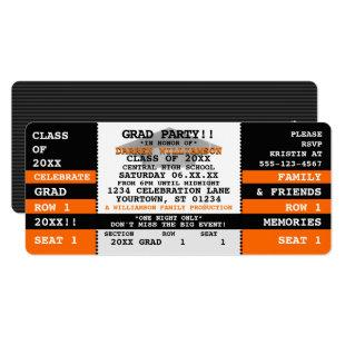 Black|Orange Concert Ticket Grad Party Invitation