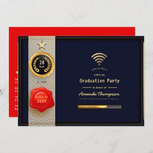 Black, Red and Gold Virtual Graduation Party Invitation