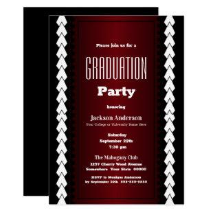 Black Red and White Graduation Party Invitation