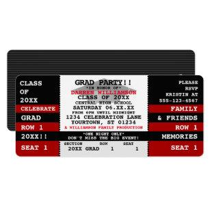Black|Red Concert Ticket Grad Party Invitation