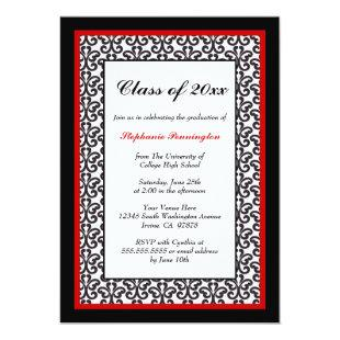 Black red damask graduation party announcement