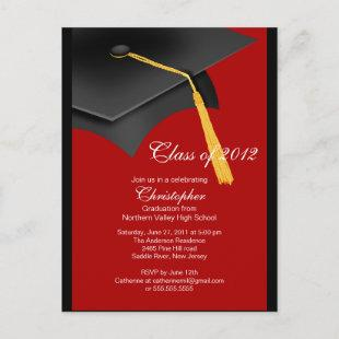 Black Red Grad Cap Graduation Party Invitation