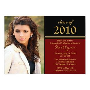Black & Red Photo Graduation Invitation