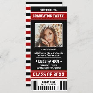 Black|Red Sporty Graduation Party Ticket Invitation