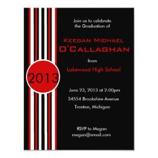 Black & Red Striped Graduation Party Invitation