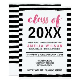 Black Stripes Pink Class of 2020 Graduation Party Invitation